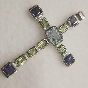 Jewelry - Sterling Amethyst Peridot Aqua Cross Pendant